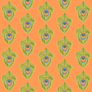 Peacock Feather Green and Orange