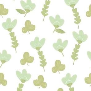 Petite Fleurs Neutral Blue Green