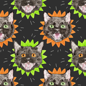 Halloween Cats on Green and Orange Starbursts