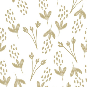 Buds and Blossoms Neutral Greyed Taupe on White