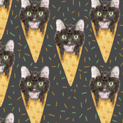 Halloween Black Cat Ice Cream Cones