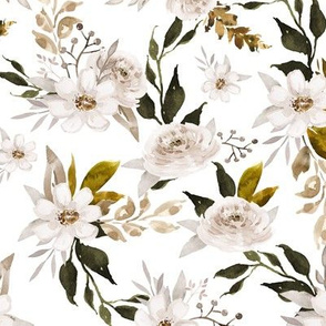 Caramel and Olive Muted Florals // White