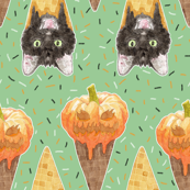 Jack-O-Lantern and Halloween Cats Ice Cream Cones