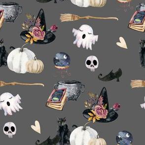"8"" Spooky Halloween Grey Back"