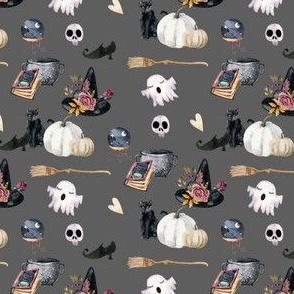 "4"" Spooky Halloween Grey Back"