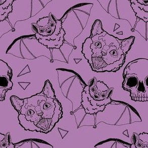 Cats and Bats and Skulls on Purple