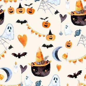 """8"""" Halloween Kitty Ivory"""