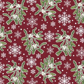 Mistletoe & Snowflakes_Winter Flora-Burgundy