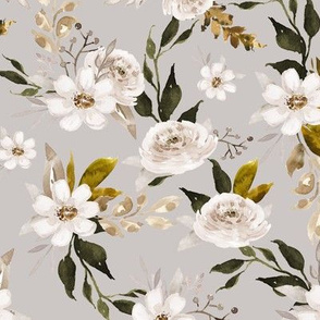 Caramel and Olive Muted Florals // Cloud Gray