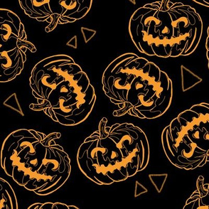 Orange Jack-O-Lanterns on Black