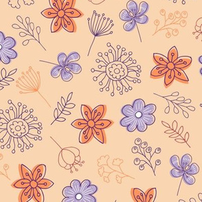 Cute Flowers - Purple Orange