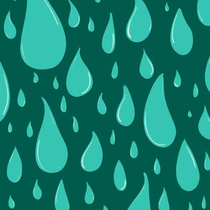 Water Drops on Dark Teal - Jumbo Scale