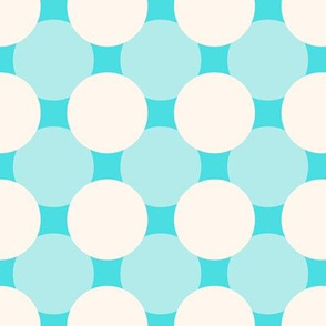 White circles over blue