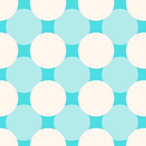 White circles over blue