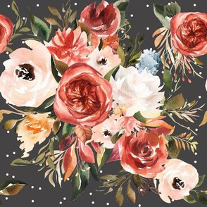 Burnt Umber and Apricot Peach Florals // Charcoal