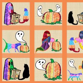 Halloween Otomi Quilt Orange 4