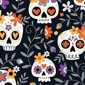 sugar skull embroidery - black, large