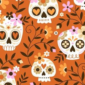 sugar skull embroidery - orange, large