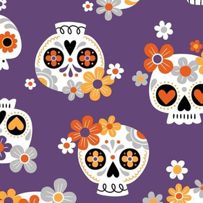 floral sugar skull - purple, large