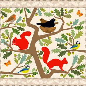 Woodland Nursery Cheater Quilt- warm summer colourway