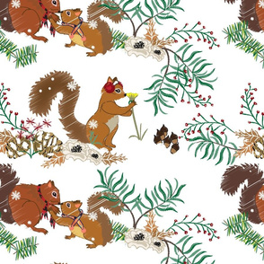 Squirrel Winter Floral