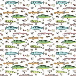 Fishing lures on white 6x6