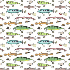Fishing lures on white 8x8