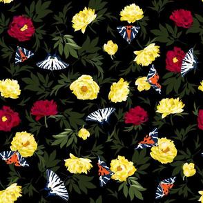 peonies & butterflies dark