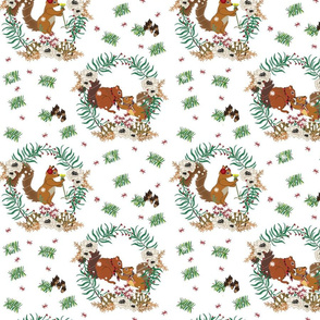 Floral Winter Squirrels small print