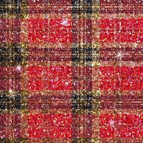 Plaid black red glitter Christmas