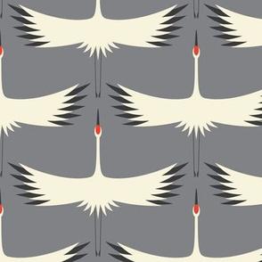 """Whooping Crane Migration (6"""")- Smoke - Wallpaper 6"""" Wingspan"""