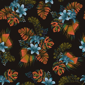Orchid Garden - Black/Rust/Blue