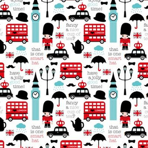Crazy for London double decker tea big ben and travel icon design