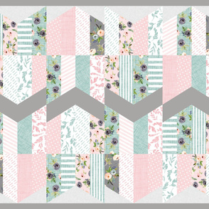 blush floral chevron feather cheater quilt
