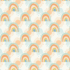 collage rainbows small scale in apricot