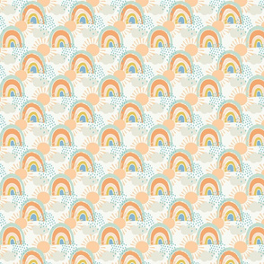 collage rainbows with clouds medium scale in apricot by Pippa Shaw