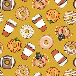 (small scale) Thanksgiving donuts and coffee - fall - doughnuts -  gold - LAD19BS