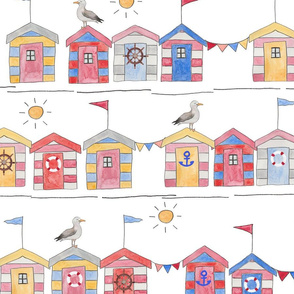 Beach Huts Summer Time (Larger Scale)