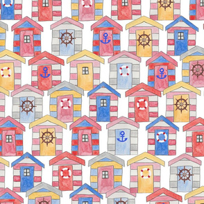 Busy Beach Huts (Larger Scale)