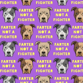 """(1.5"""" scale) farter not a fighter - pit bulls - pitties - purple and yellow - LAD19"""
