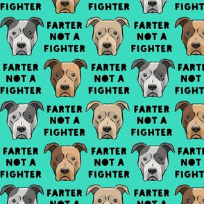 """(1.5"""" scale) farter not a fighter - pit bulls - pitties - teal and black - LAD19BS"""