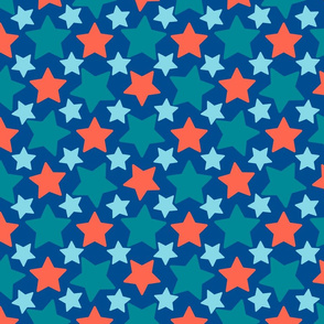 Colorful stars over blue background