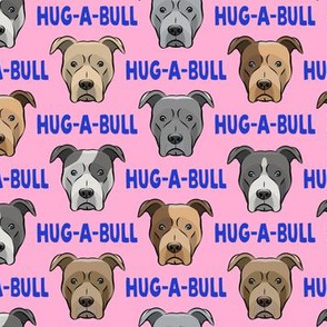 (small scale) Hug-a-bull - pit bulls - American Pit Bull Terrier dog - pink - LAD19