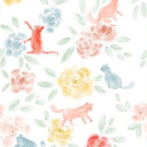 Playful cats soft watercolor floral