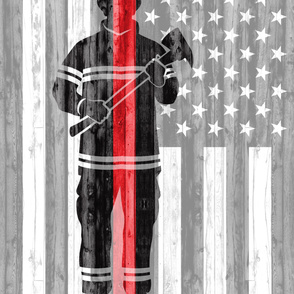 (2 yard minky panel) firefighter - red line flag  LAD19