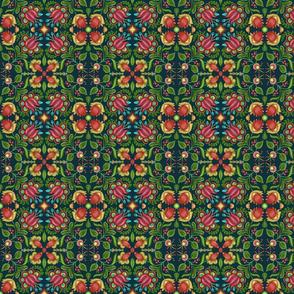 Boho Gypsy Floral Dark Teal