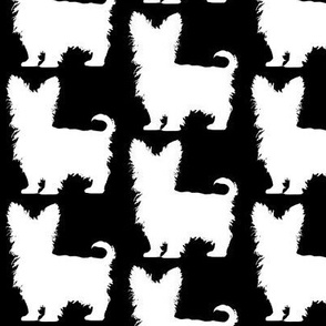 Yorki Yorkshire Terrier Dog Silhouette White on Black