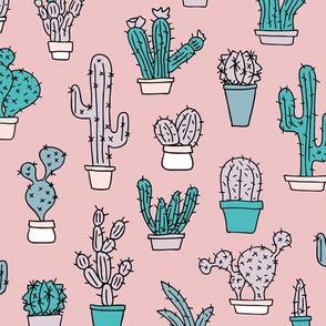 Cactus home garden summer succulents and cacti plants botanical illustrations summer swim mauve pink blue
