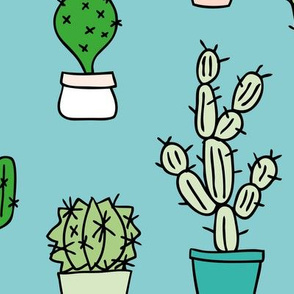 Cactus home garden summer succulents and cacti plants botanical illustrations summer swim green blue JUMBO