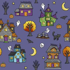 haunted houses on purple